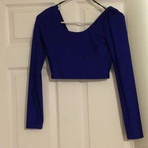 Blue crop top long sleeve shirt.